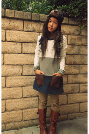 dark brown bear hat - navy color-blocked sweater - lime green checkered shirt