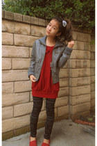 red canvas TOMS flats - ruby red bow dress - charcoal gray leather jacket