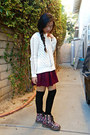 Black-floral-boots-cream-backless-aeropostale-sweater