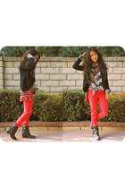 heather gray striped shirt - red Harajuku pants - black cardigan
