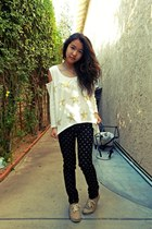 white star foreign exchange shirt - black polka dot Harajuku mini pants