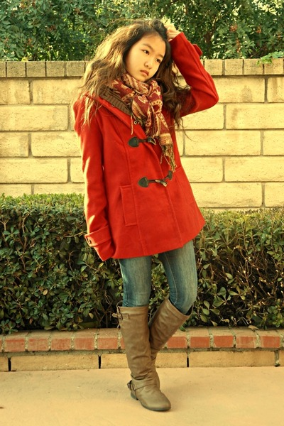 red trench Forever 21 coat - brown knee-high boots - navy denim jeans