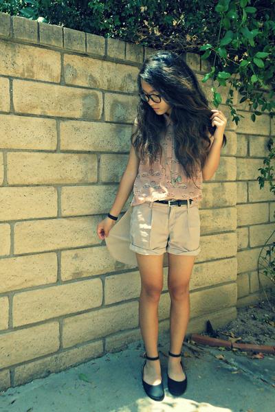 light pink flamingo H&M blouse - tan rose khaki Gap shorts