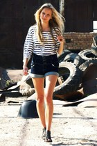 black Deichmann sandals - navy Zara shirt - navy Pimkie shorts
