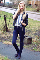 black New Yorker jacket - navy New Yorker jeans - white Zara shirt