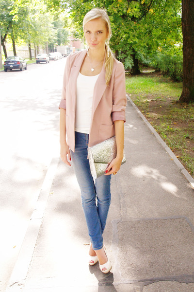 light pink H&M blazer - sky blue Cubus jeans - white H&M bag - white H&M top