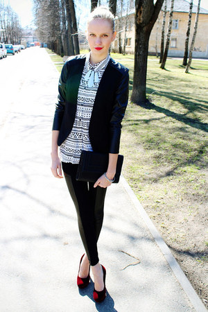 black H&M jacket - black Ebay leggings - white H&M bag
