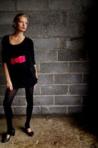 black H&M cardigan - black New Yorker dress - pink New Yorker belt - pink H&M sc