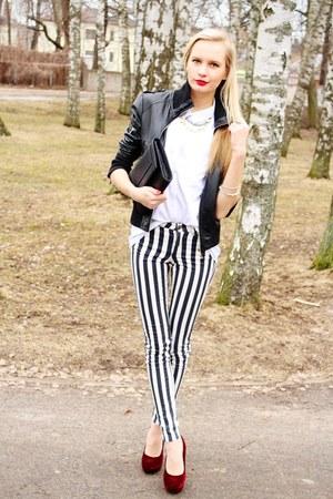 black New Yorker jacket - black H&M pants - white H&M blouse
