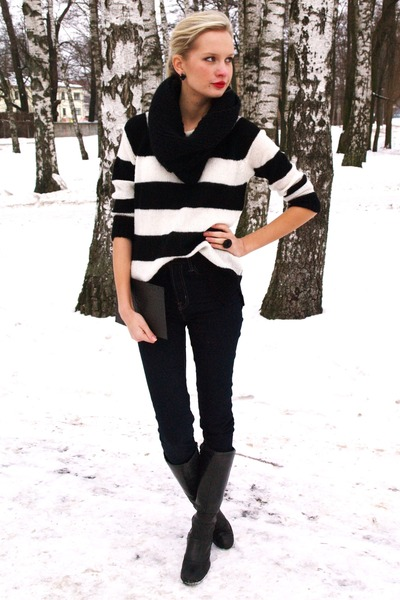black Danija boots - navy Cubus jeans - black Mango sweater
