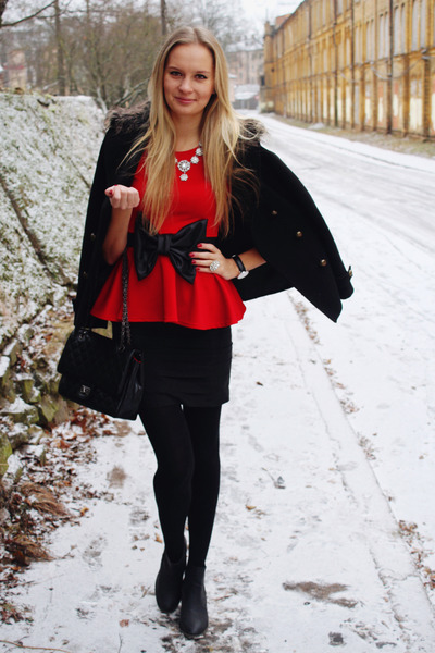black Primark coat - black Lovelywholesale bag - black H&M skirt