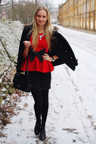 black Primark coat - black Lovelywholesale bag - black H&M skirt