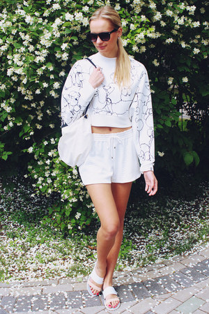 white H&M sweater - white H&M bag - white H&M shorts - white H&M flats