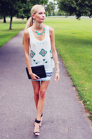aquamarine Ebay necklace - black H&M bag - white Sheinside top