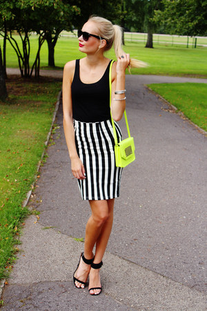 white Choies skirt - yellow H&M bag - black H&M top - black Zara heels