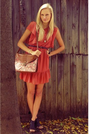 salmon Primark dress - brown Primark bag - black Super Street Shoes heels