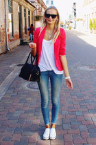 hot pink H&M blazer - sky blue H&M jeans - black H&M bag - cream H&M sneakers