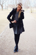 black H&M boots - black Primark coat - gray H&M sweater - black H&M skirt