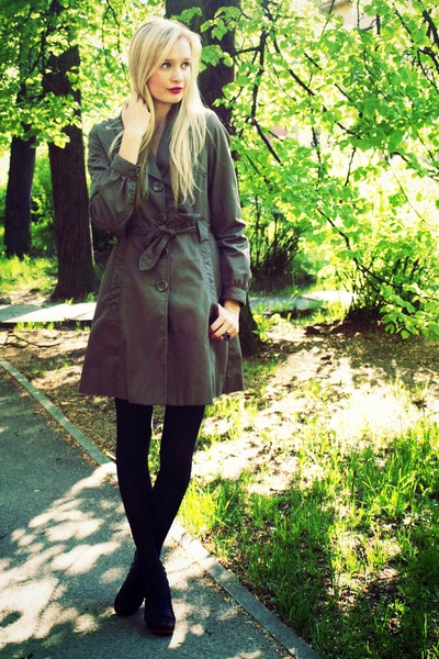 dark brown H&M coat - black H&M tights - black Super Street Shoes heels
