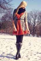 black Danija boots - salmon Primark coat - black self-made scarf