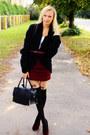 Black-h-m-bag-crimson-h-m-heels-crimson-h-m-skirt-black-foymall-stockings