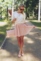light pink OASAP skirt - cream H&M sweater - light pink ARAFEEL bag