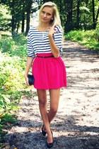 hot pink New Yorker skirt - white Zara shirt - black H&M bag