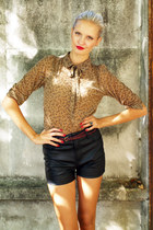 brown Zara blouse - black Bik Bok shorts - crimson Zara belt