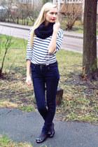 black Self Made scarf - navy New Yorker jeans - white Zara shirt