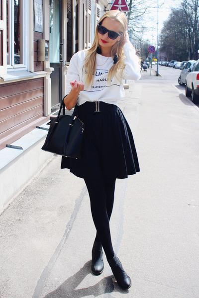 black H&M jacket - white Lovelywholesale sweater - black Lovelywholesale bag