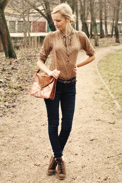 brown Zara blouse - dark brown Primark boots - navy New Yorker jeans