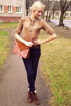brown Primark bag - dark brown Primark boots - navy New Yorker jeans