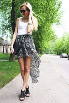 black H&M skirt - black H&M bag - black Promod sunglasses - white Zara blouse