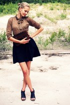 dark brown Zara blouse - dark brown vintage bag - black Super Street Shoes heels