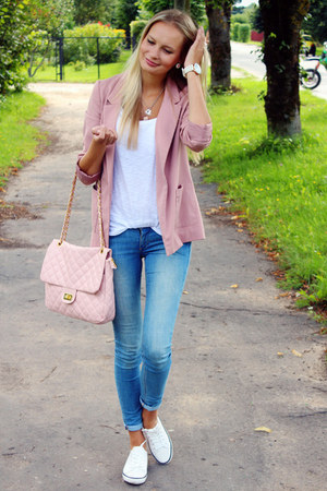 sky blue H&M jeans - pink H&M blazer - white H&M top - white H&M sneakers