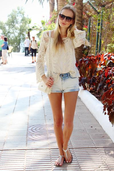 cream Ebay blouse - cream ARAFEEL bag - sky blue Bershka shorts