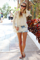 cream ARAFEEL bag - sky blue Bershka shorts - cream Ebay blouse