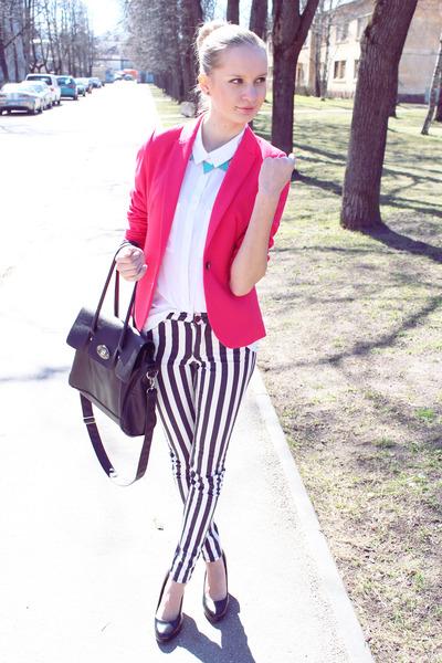 hot pink H&M blazer - black Seppaala bag - black Zara pants - white H&M blouse