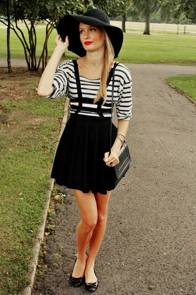black H&M hat - white Zara shirt - black H&M bag - black Choies skirt