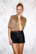 black Bik Bok shorts - dark brown Zara blouse