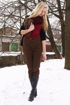 dark brown Zara pants - black Danija boots - brick red Self Made scarf