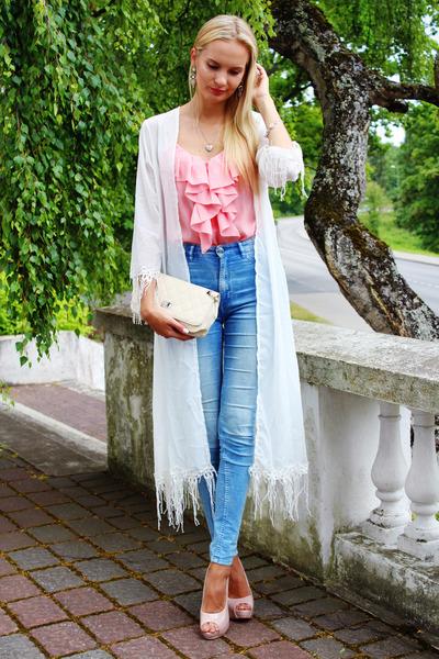 white Ebay bag - sky blue H&M jeans - light pink trendsgal earrings