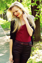 black Bik Bok shorts - brick red New Yorker top - black Pimkie cardigan