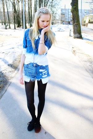 black H&M shoes - blue H&M shirt - blue Bik Bok shorts - silver Cubus necklace