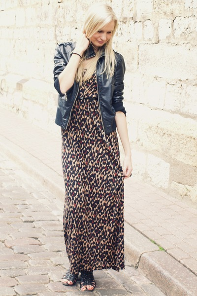 dark brown H&M dress - black New Yorker jacket - black Deichmann sandals