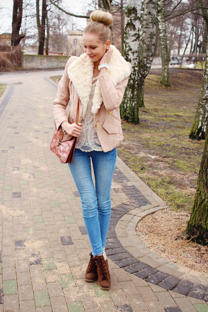 dark brown Primark boots - sky blue H&M jeans - peach sammydress jacket