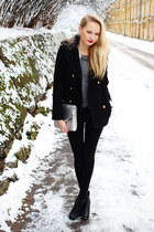 black H&M boots - black Primark coat - heather gray H&M sweater
