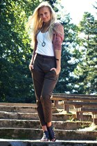 dark brown Zara pants - coral H&M cardigan - black Deichmann sandals