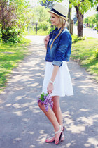 white H&M dress - cream straw hat H&M hat - navy ARAFEEL jacket