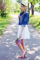 white H&M dress - cream straw hat H&M hat - navy ARAFEEL jacket